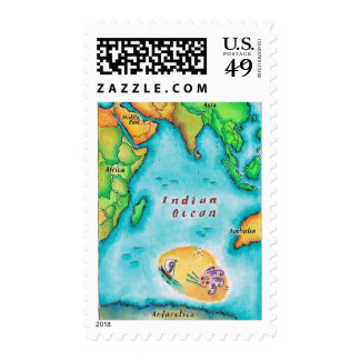 Map of the Indian Ocean Stamp