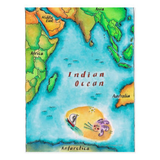Map of the Indian Ocean Postcard