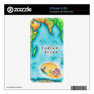 Map of the Indian Ocean Skin For iPhone 4