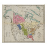 Map of the Indian Tribes of North America Poster