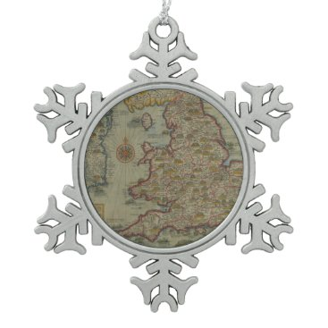 Map of The Invasions of England & Ireland Snowflake Pewter Christmas Ornament