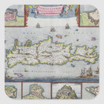Map of the Island of Candia Square Sticker
