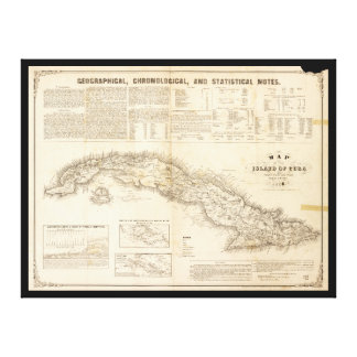 Map of the Island of Cuba (1855) Canvas Print