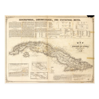 Map of the Island of Cuba (1855) Postcard