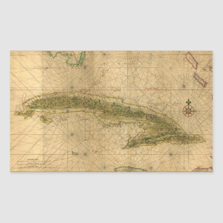 Map of the Island of Cuba by Joan Vinckeboons 1639 Rectangular Sticker