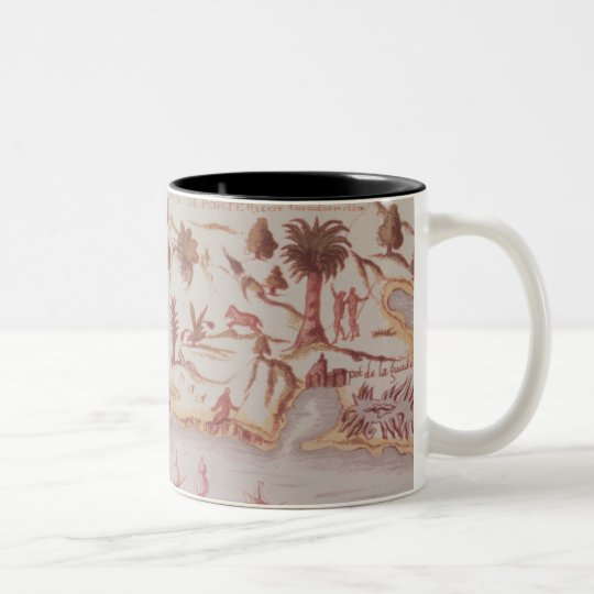 Map of the island of Puerto Rico, 1599 Two-Tone Coffee Mug