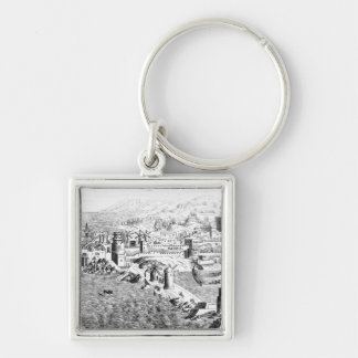 Map of the Island of Rhodes Silver-Colored Square Keychain