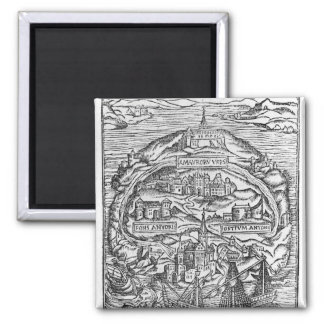 Map of the Island of Utopia, Book frontispiece Fridge Magnet