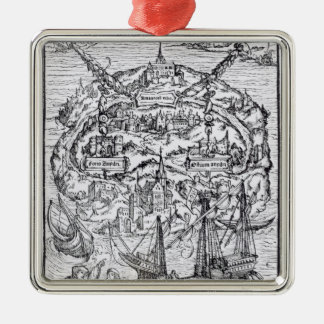 Map of the Island of Utopia, Book frontispiece Metal Ornament