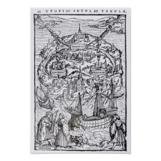 Map of the Island of Utopia, Book frontispiece Poster