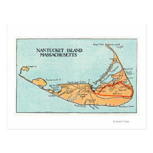 Map of the Island Post Cards
