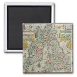 Map of the Kingdom of Great Britain and Ireland 2 Inch Square Magnet