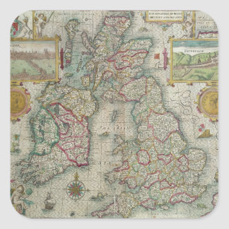 Map of the Kingdom of Great Britain and Ireland Square Sticker