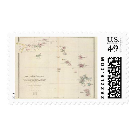 Map of The Leeward Islands Postage