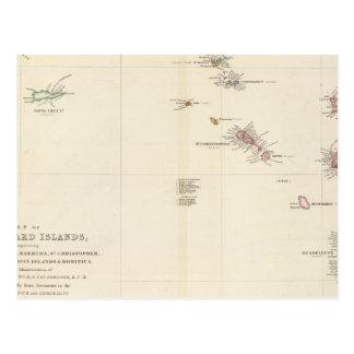 Map of The Leeward Islands Postcard
