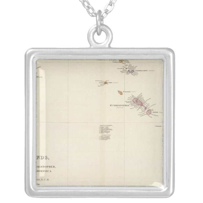 Map of The Leeward Islands Silver Plated Necklace