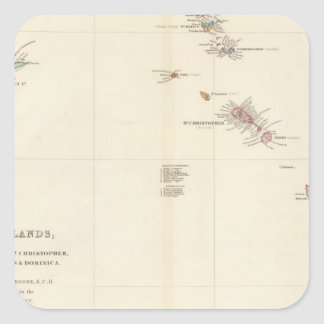 Map of The Leeward Islands Square Sticker