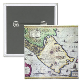 Map of the Magellan Straits, Patagonia 2 Inch Square Button