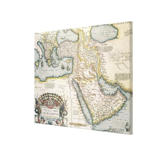 Map of the Middle East Canvas Print