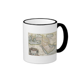 Map of the Middle East Ringer Coffee Mug