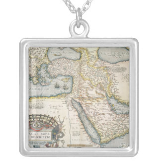 Map of the Middle East Square Pendant Necklace
