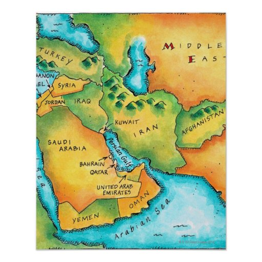 Map of the Middle East Print
