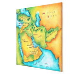 Map of the Middle East Stretched Canvas Print