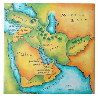 Map of the Middle East Tile