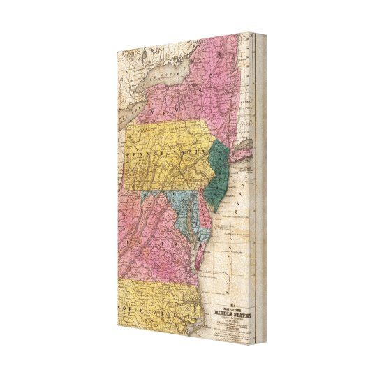 Map of the Middle States Canvas Print