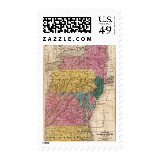 Map of the Middle States Stamps