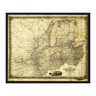 Map of the Midwest United States (c 1840) Canvas Print
