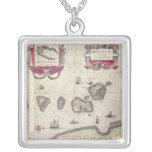 Map of The Moluccan Island, engraved Square Pendant Necklace