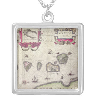 Map of The Moluccan Island, engraved Silver Plated Necklace