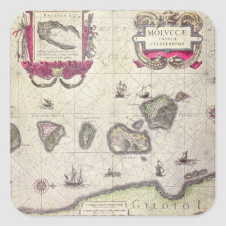 Map of The Moluccan Island, engraved Square Sticker