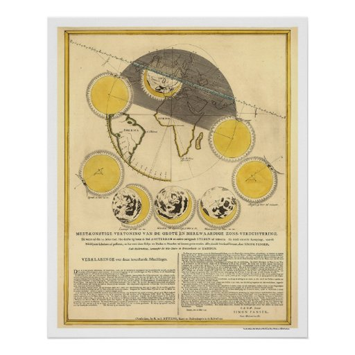 Map of the Moon and a Solar Eclipse by Panser 1748 Poster