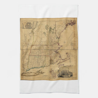 Map of the Most Inhabited Part of New England 1755 Kitchen Towel