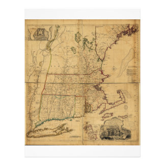 Map of the Most Inhabited Part of New England 1755 Letterhead