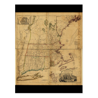 Map of the Most Inhabited Part of New England 1755 Postcard