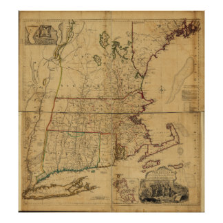 Map of the Most Inhabited Part of New England 1755 Posters