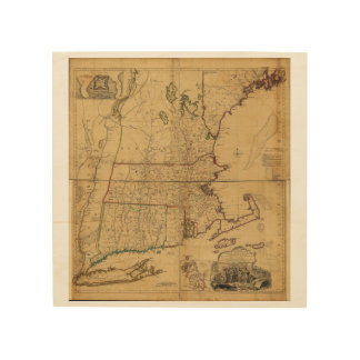 Map of the Most Inhabited Part of New England 1755 Wood Wall Art