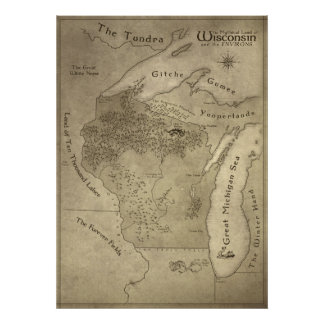 Map of the Mythical Land of Wisconsin Poster