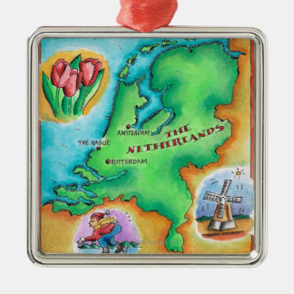 Map of the Netherlands Square Metal Christmas Ornament