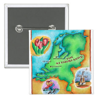 Map of the Netherlands Pinback Button