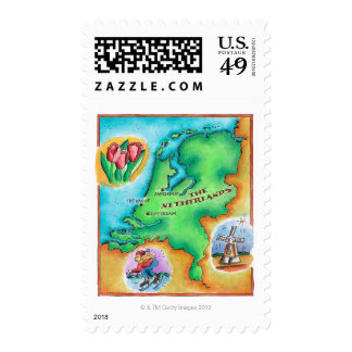 Map of the Netherlands Stamps