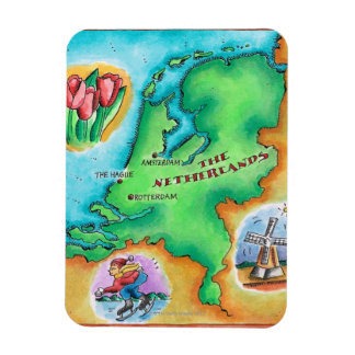 Map of the Netherlands Rectangular Magnets