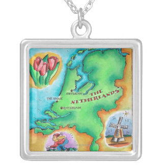 Map of the Netherlands Square Pendant Necklace