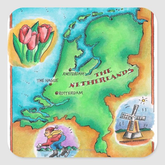 Map of the Netherlands Square Sticker