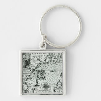 Map of the New England coastline Keychain
