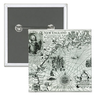 Map of the New England coastline Pinback Button