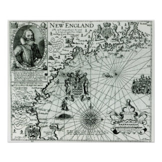 Map of the New England coastline Poster